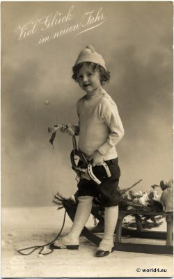 Boy fashion with sled and horseshoes. New Year Greeting card, German Postcard 1930.