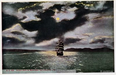 Postcard 1910s, San Francisco, California, Golden Gate, Moonlight