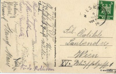 Back of Postcard. Stamps, Handwriting, Philately, German Empire. Postmark.