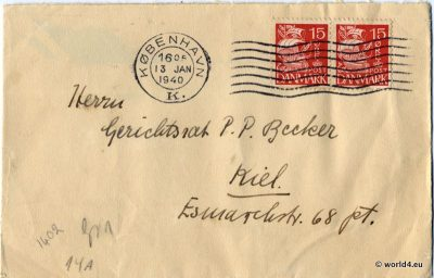 WW2, Nazi, Censored letter, German Empire Philately, Postmark, Handwriting,  Letter Template,
