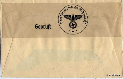 Letter Template. WW2 Nazi swastika censored letter. German Empire Philately, Postmark, Handwriting.