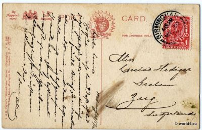 Back of Postcard. Template, Stamps, Handwriting, Philately, France. Postmark, Autograph.