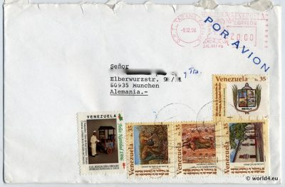 Venezuela, Philately, Cover, Caracas, Stamps, postal history