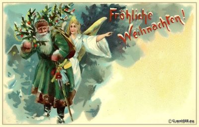 Vintage German christmas card. Santa Claus with angel.