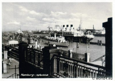 Port of Hamburg. Antique, CollectibleGerman Postcard 1940.