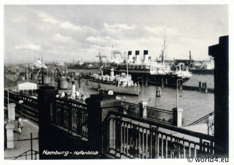 Port Of Hamburg Antique German Postcard 1940 Lost And
