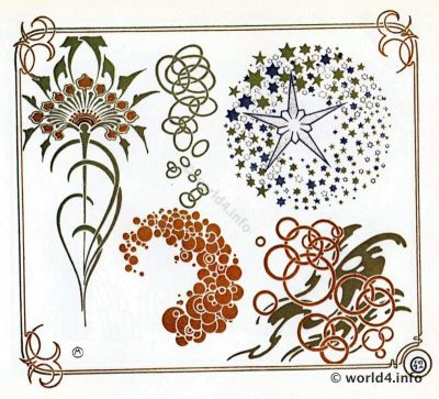 Art Nouveau Dandelion Ornaments by A. Mucha. Free tattoo templates and Art deco decoration for Embroidery