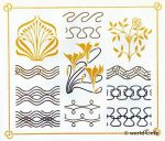 Art nouveau floral, plant and flower graphics design. Free tattoo templates and Art deco decoration for Embroidery