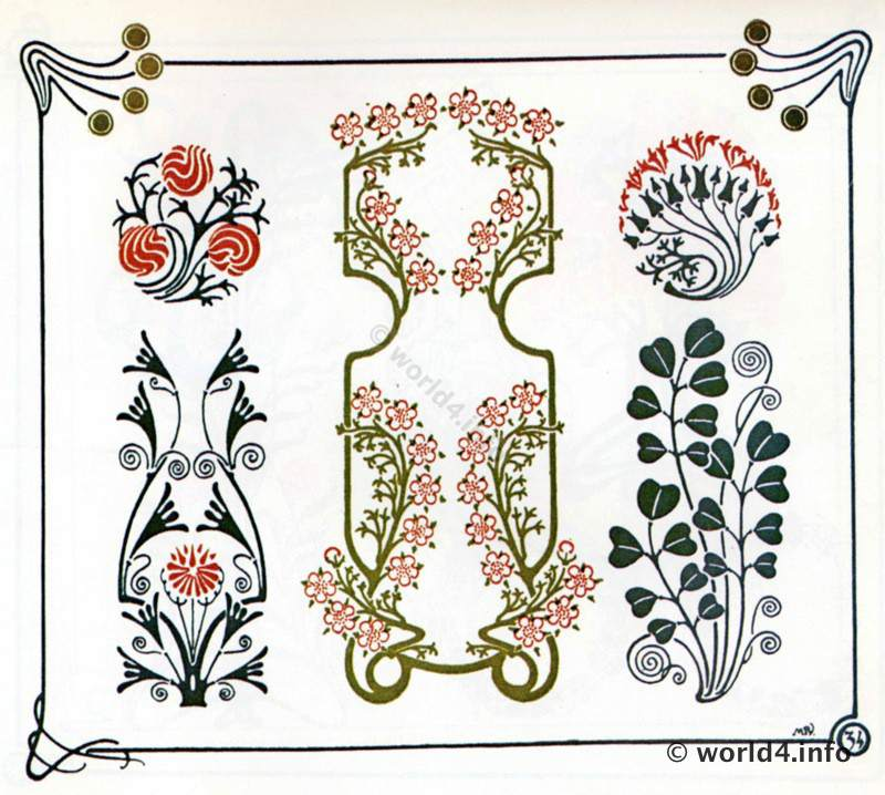 Templates and illustrations for decoration tattoo and embroidery