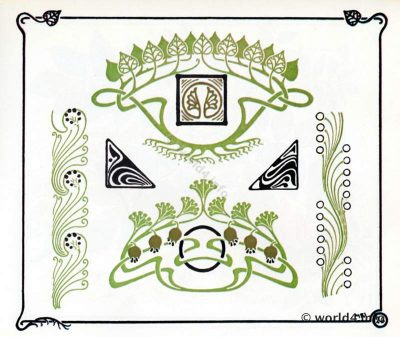 Art nouveau graphics design. Free Art deco templates and illustrations for decoration, tattoo and embroidery.