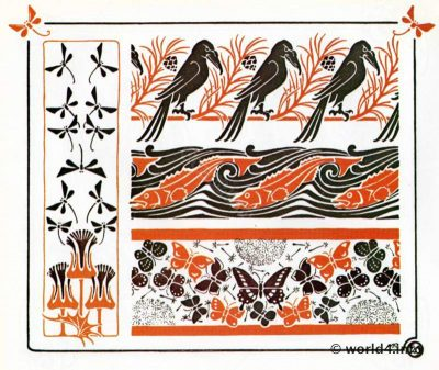 Art nouveau floral, crows, dandelion and flower graphics design. Free tattoo templates and Art deco decoration for Embroidery