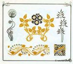 Art nouveau plant and flower graphics design. Free tattoo templates