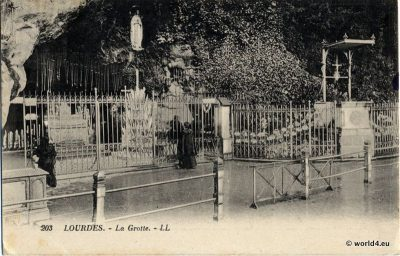 Grotte, Lourdes, France, Cave, 1932, Collectible, Postcard,
