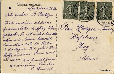 Postcard, Collectible, stamps, Handwriting, French, Philately, Template, calligraphy