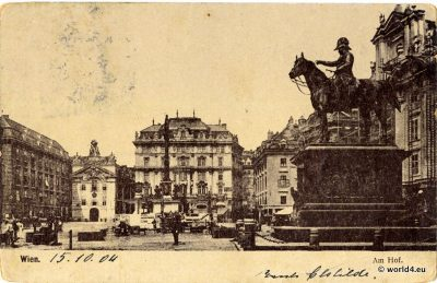 Old postcard. Am Hof Vienna Austria. Collectible picture card.