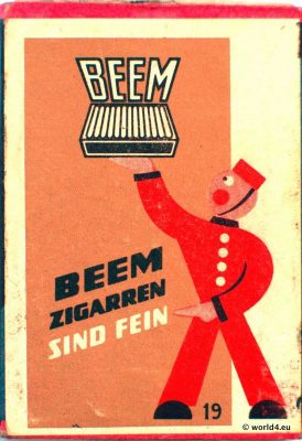 German Graphics Design. Vintage  Phillumeny. Beem cigars advertising 1960s.