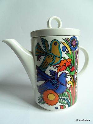 Vintage Villeroy & Boch, Acapulco porcelaine design decor. Mexican Folk Art. Serie New Wave