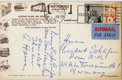 Vintage Collectible Postcard, Topography, Alcatraz Island, California, San Francisco Poststempel 1974, U.S.A., Stamps, Calligraphy, handwriting, postal stationery