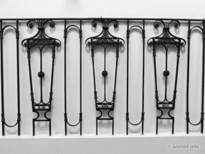 Antique wrought iron balustrades and balcony craftsmen.England 1800