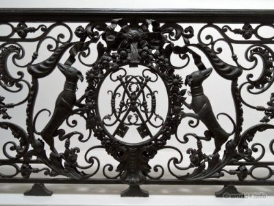 Design on Antique wrought iron balustrades and balcony craftsmen. England 1800.