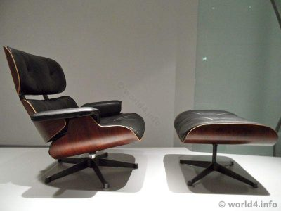 mid century furniture design, Charles Eames Lounge Chair 670. Lounge space age Modern stylish interiors