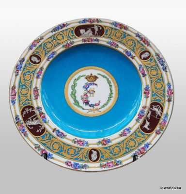 Antique Sèvres porcelain for Catherine the Great of Russia. French royal factory of Sèvres. Antique dish plates