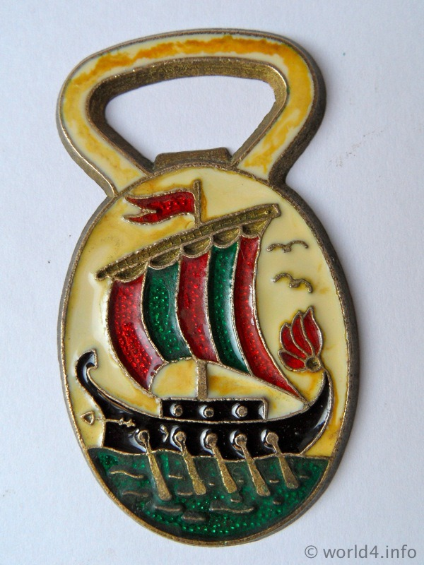 Bottle opener souvenir mid-century greek design. Collectible tool