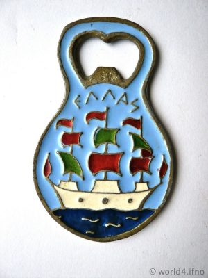 Greece Bottle Opener, Greek Souvenir design vintage collectible