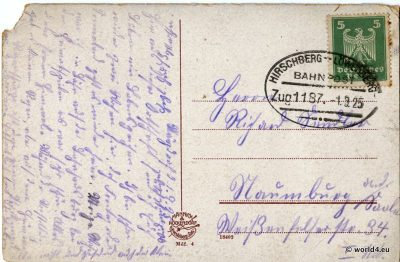German Handwriting. Antique postcard. Collectible rare stamp, German Empire Bahnpost