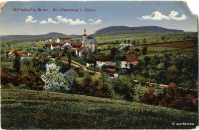 Antique postcard from Germany Löwenberg in Silesia. Collectible Item. German History