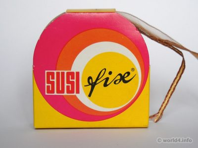 Susi Fix magic loop. Vintage German Graphics design, colors, typography 1970s. Retro Packaging design.