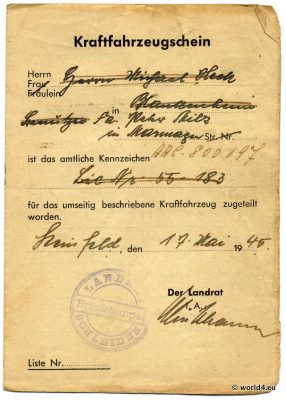 Kraftfahrzeugschein 1945, Oldtimer Opel 1190, German automobile license WW2, Schleiden, Vehicle registration certificate, memorabilia