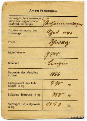 Kraftfahrzeugschein 1945, Oldtimer Opel 1190, German automobile license WW2, Schleiden, Vehicle registration certificate, memorabilia