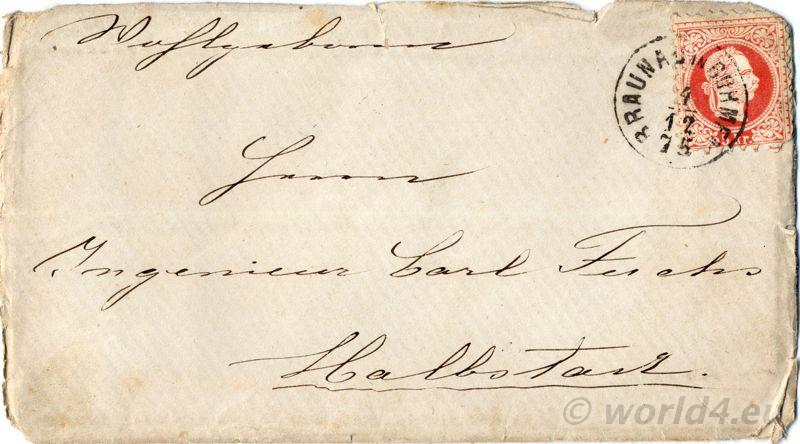 Rare, collectible, stamps, Bohemia, German Empire, Austria, Calligraphy Autograph. Decorative Letter, handwriting, template