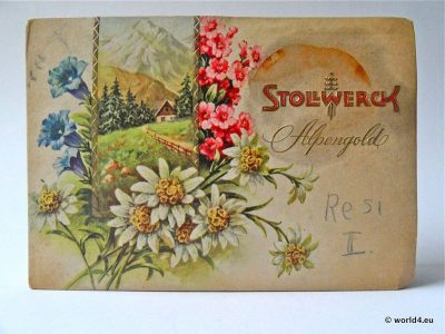 Vintage, Antique German Chocolate Box, Alpengold, Stollwerk Brand Cologne, old varieties of chocolates, Packaging and Graphics design