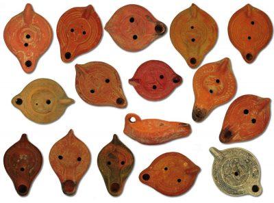 Antique ancient roman imperial oil lamps design