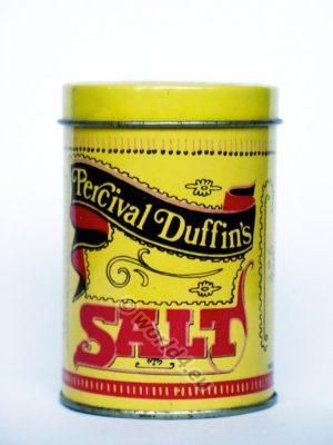 England Percival Duffin's Salt Collectibles, Collectables, Salt & Pepper Pots tin box, Advertising and Merchandis. Graphics design, Typography template