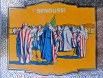 Collectible vintage Senoussi German Cigarettes tin box. Graphics design, decorative Illustration and Typography 1920s.