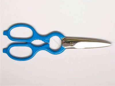Old Scissors Blue colored Friodur. German Industrial design. Multifunctional Kitchen scissor, helper.