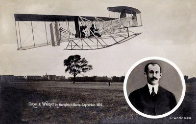 Flight Pioneers,Aviator Orville Wright, 1909, old postcard, AK, Airplane, pilot costume
