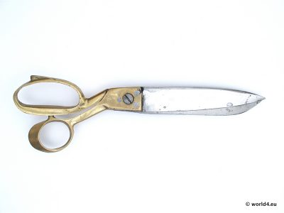 hand forged India tailor scissors, old craft, antique tool, indian industrial design