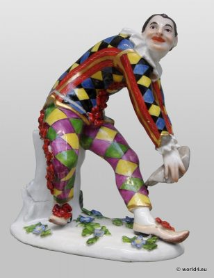 Meissen Porcelain, Antique, figurine Commedia dell'arte, Saxony, 18th century
