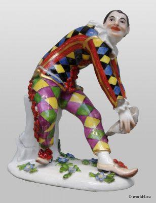 Meissen Porcelain, Antique, figurine Commedia dell'arte, Saxony, 18th century