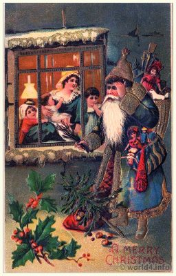 Vintage White Christmas Santa Claus postcard. Old Child Illustration, Graphics. Antique dolls and toys.
