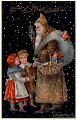 Vintage White Christmas Santa Claus postcard. Old Child Illustration, Graphics. Antique dolls and toys. Romantic German xmas