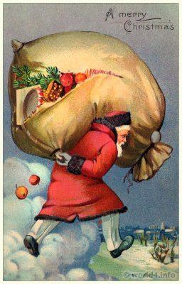 Vintage White Christmas Santa Claus postcard. Old Child Illustration, Graphics. Antique dolls and toys.