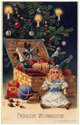 Vintage Old Postcard with christmas tree. Antique Gifts, dolls and toys. Child Illustration