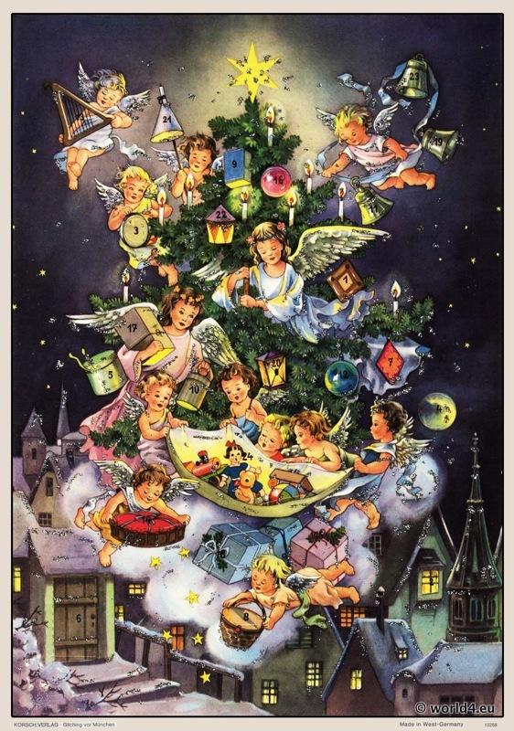 angels, christmas, advent calendar, Design, Fairy tale