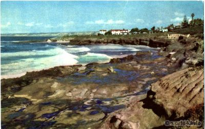 La Jolla Beach Caves, Southern California. Collectible Vintage postcard by Stephen H. Willard.