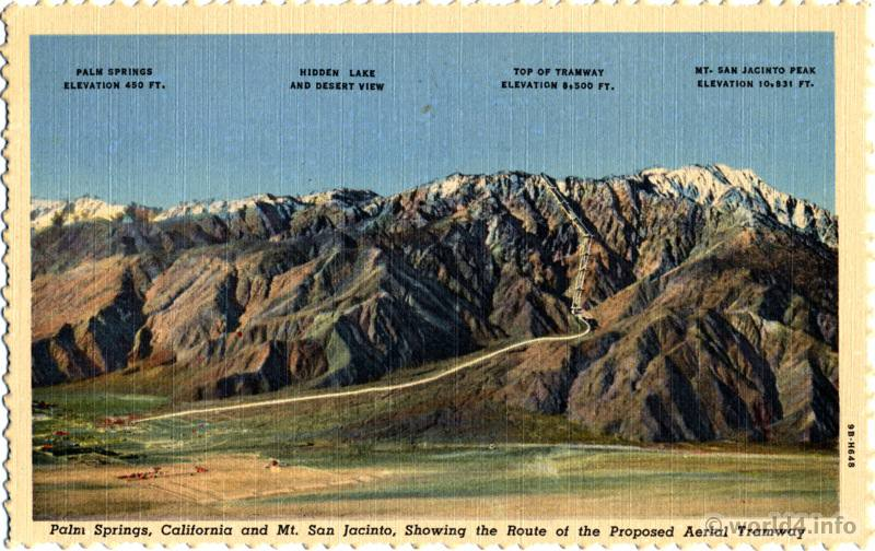Palm Springs, California and Mt. San Jacinto. Collectible Vintage postcard by Stephen H. Willard. Proposed Aerial Tramway.